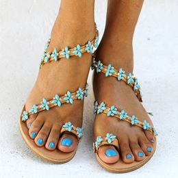 Shoespie Aqua Blue Decoration Flat Sandals