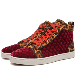 Shoespie Fur Diamonds Leopard Men's Sneakers