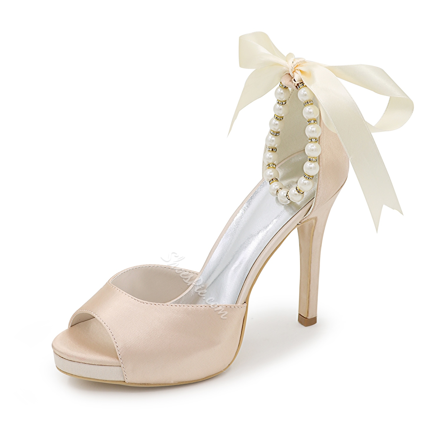 Shoespie Solid Color Ankle Beaded Bridal Shoes