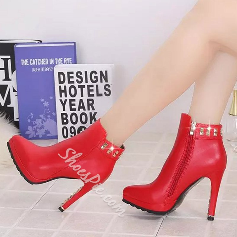 Shoespie Solid Color Rivets Stiletto Heel Ankle Boots