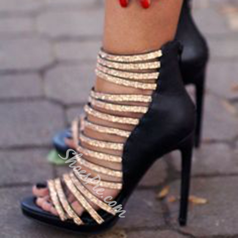 Shoespie Sequined Strappy Sandals
