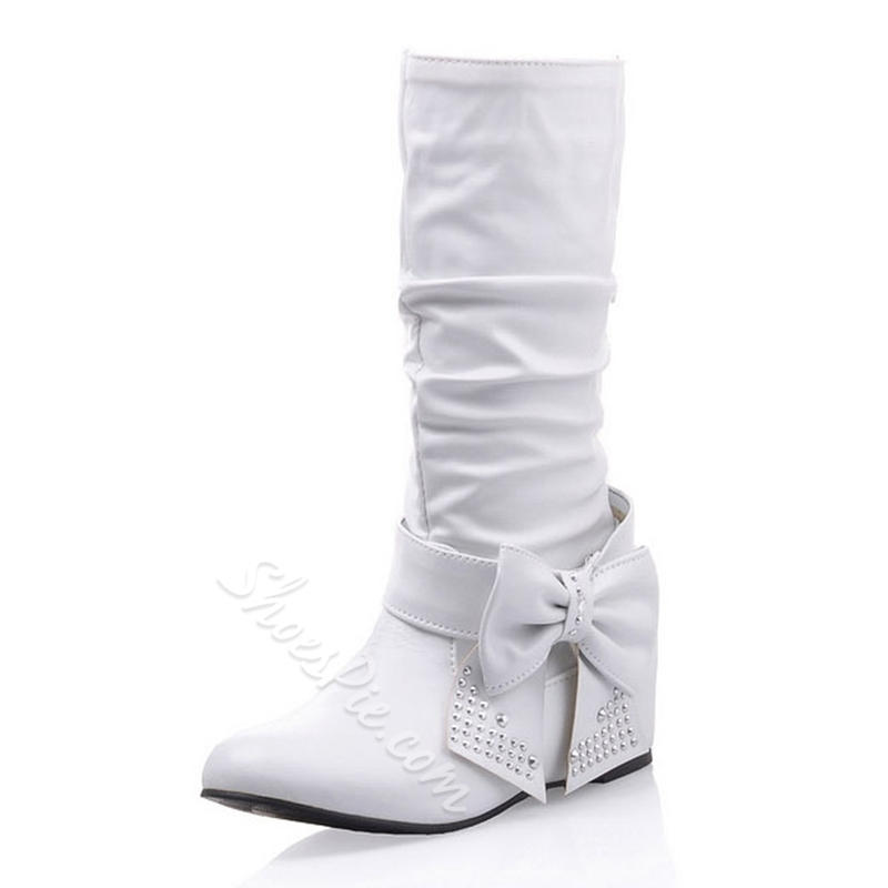 Lovely Rhinestone Bowknot Decorated Flat Boots