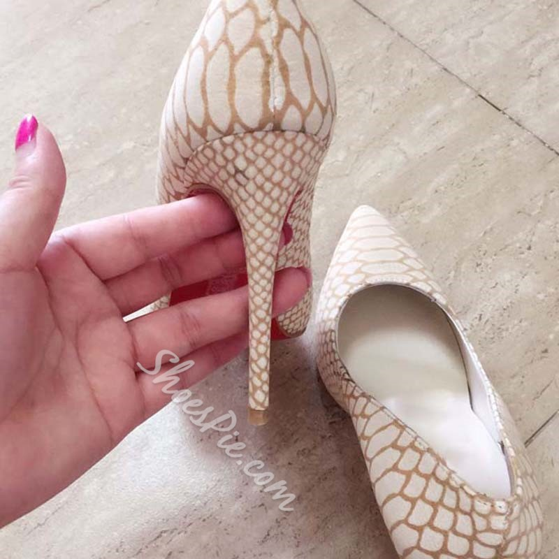 Shoespie Elegant Beige Snake Effect Stiletto Heels
