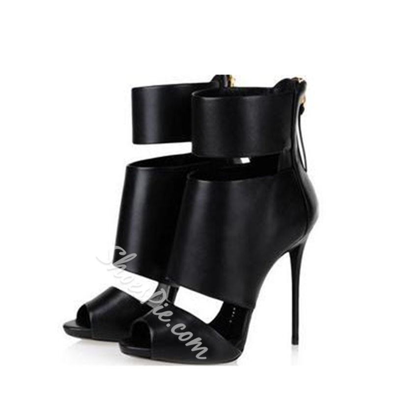 Sexy High Quality Genuine Leather Cut-out Zipper Stiletto Sandals