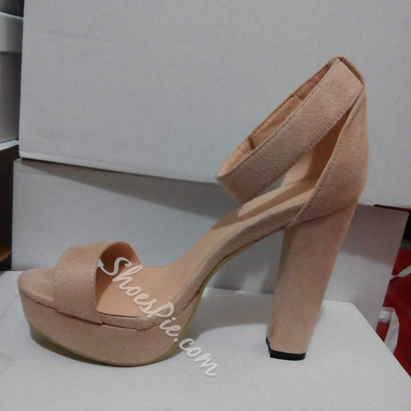 Shoespie Naked Chunky Heel Ankle Wrap Sandals