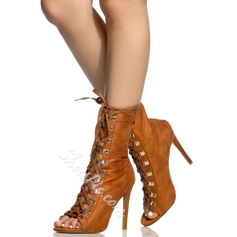Shoespie Elegant Lace Up Open Toe High Heel Ankle Boots