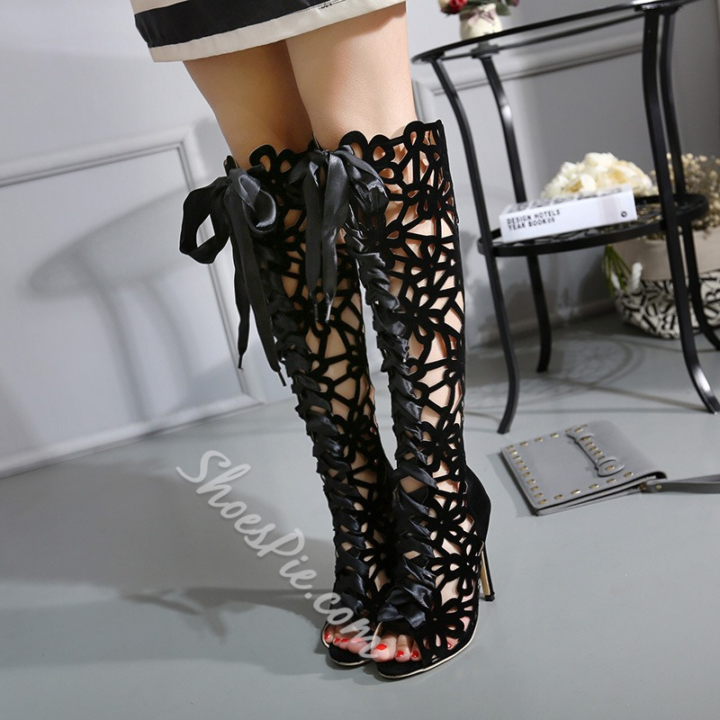Shoespie Black Caged Cut Out Knee High Sandal Boots