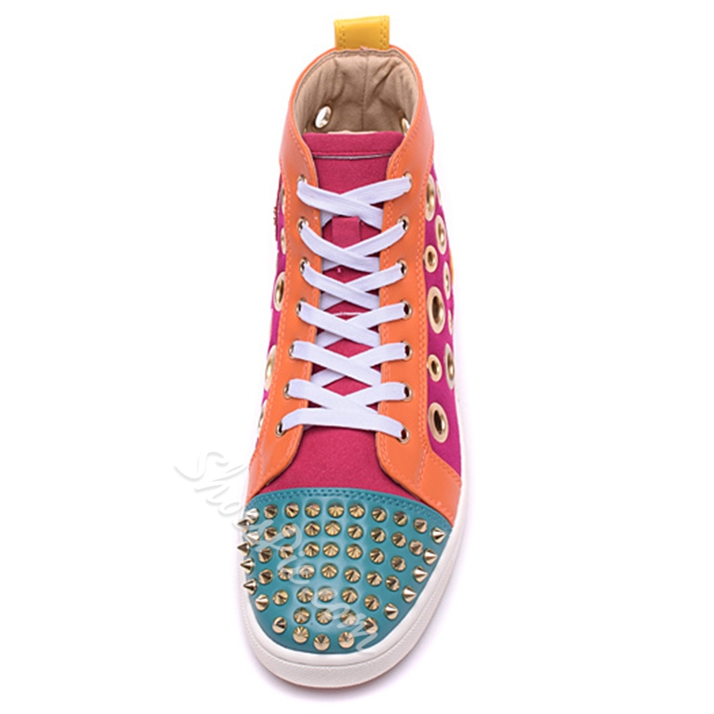 Shoespie Color Block Rivets and Holes Men's Sneakers