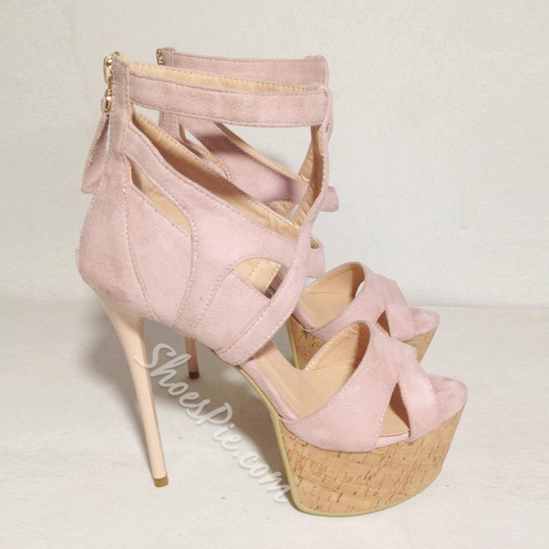 Shoespie Pink Wooden Heel Platform Sandals