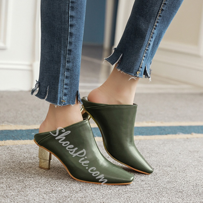 Shoespie Solid Color Patchwork Low Heel Ankle Boots