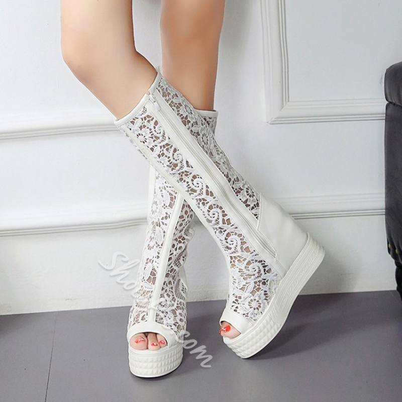 Shoespie White Lace Inset Peep Toe Knee High Boots