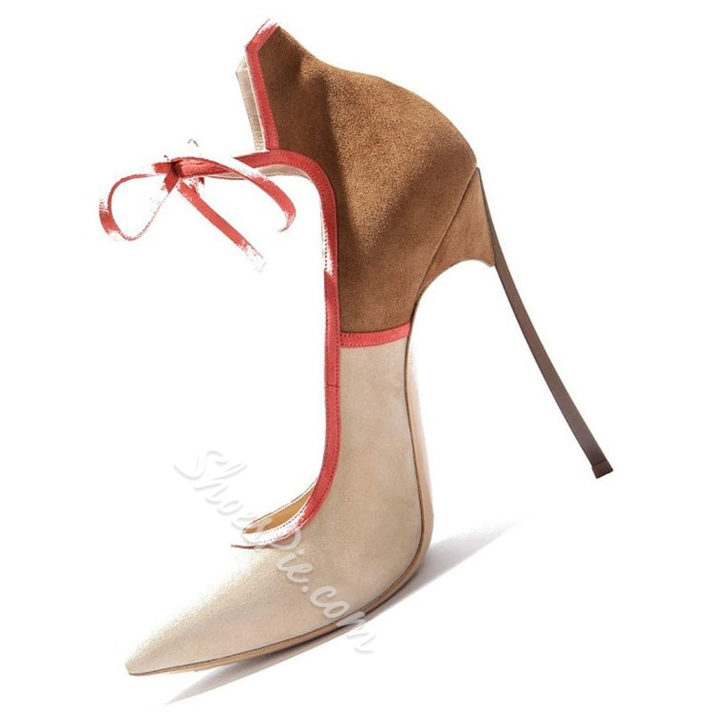 Shoespie Camel Color Block Lace Up Stiletto Heels