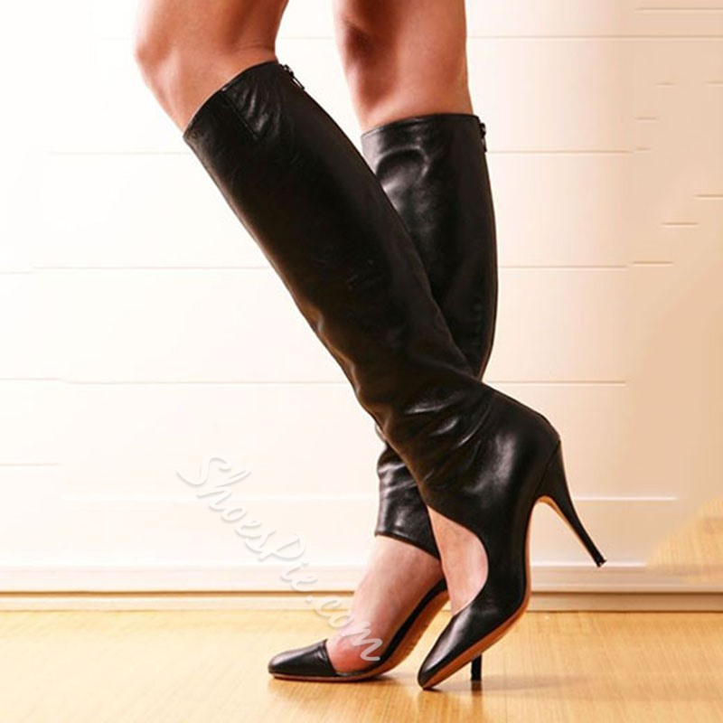 Shoespie Simply Black Cut Out Stiletto Heel Knee High Boots