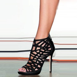 Shoespie Sexy Black Caged Stiletto Heel Gladiator Sandals