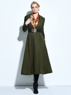 Notched Lapel Ankle-Length Long Sleeve Pullover Women's Dress