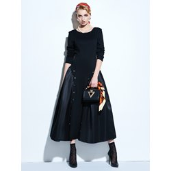 Long Sleeve Round Neck Knee-Length Pullover Women's Dress