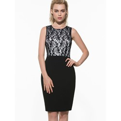 Knee-Length Round Neck Lace Wear to Work/Workwear Women's Dress