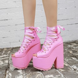 Shoespie Solid Color Lace Up Platform Ankle Boots