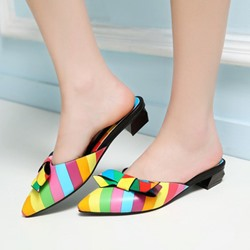 Shoespie Rainbow Bowtie Backless Mule Shoes