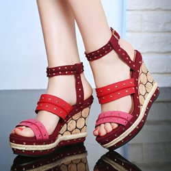 Shoespie Color Block Rivets Wedge Sandals