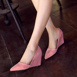 Shoespie Pink Pointed Toe Wedge Heels