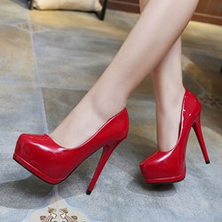 Shoespie Solid Patent Leather Platform Heels