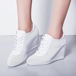 Shoespie Solid Color Mesh Hidden Wedge Sneakers shoespie