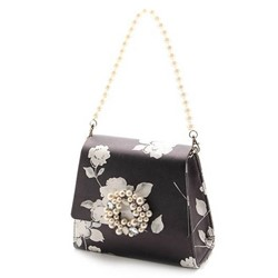 Shoespie Chic Satin Flower Print Beaded Handbag