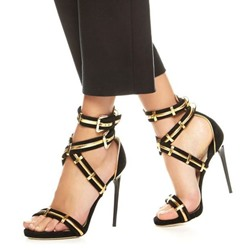Shoespie Hard Golden Metal Patchwork Dress Sandals