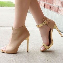Shoespie Camel Cut Out Metallic Ankle Wrap Dress Sandals