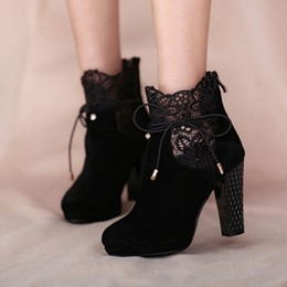 Shoespie Chic Black Lace Inset Ankle Boots