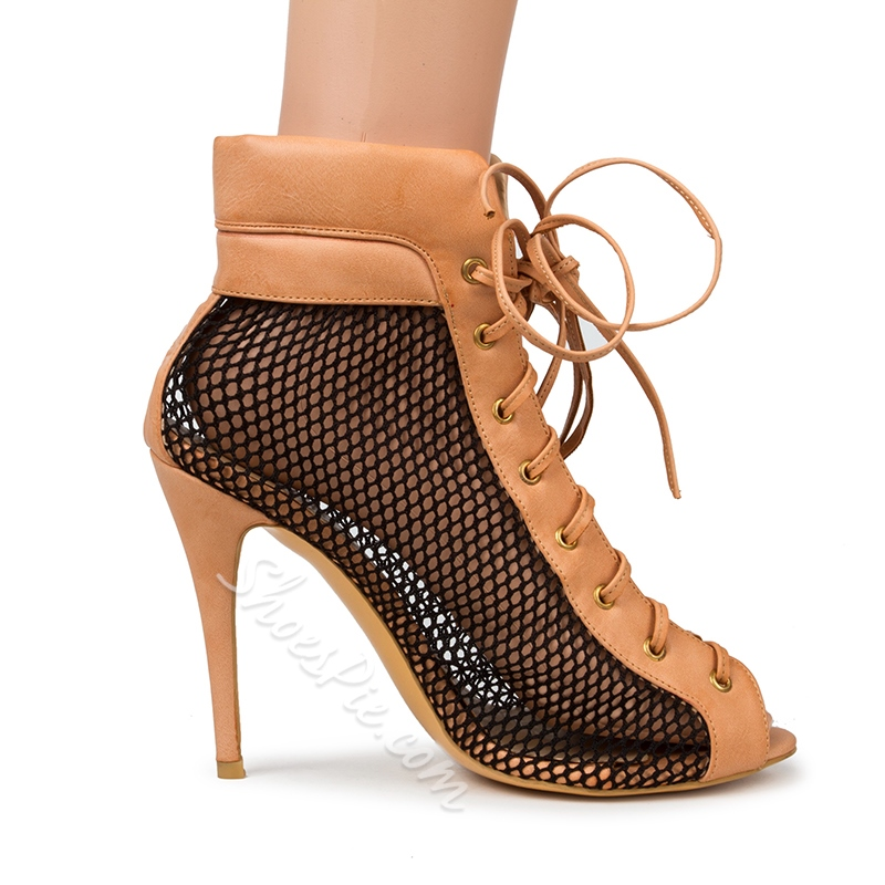 Shoespie Suede and Mesh Lace Up Sandals