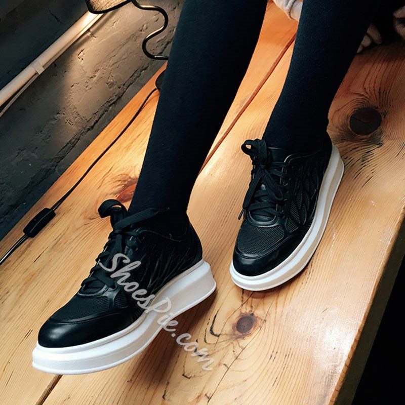 Shoespie Solid Color Patchwork Sneakers