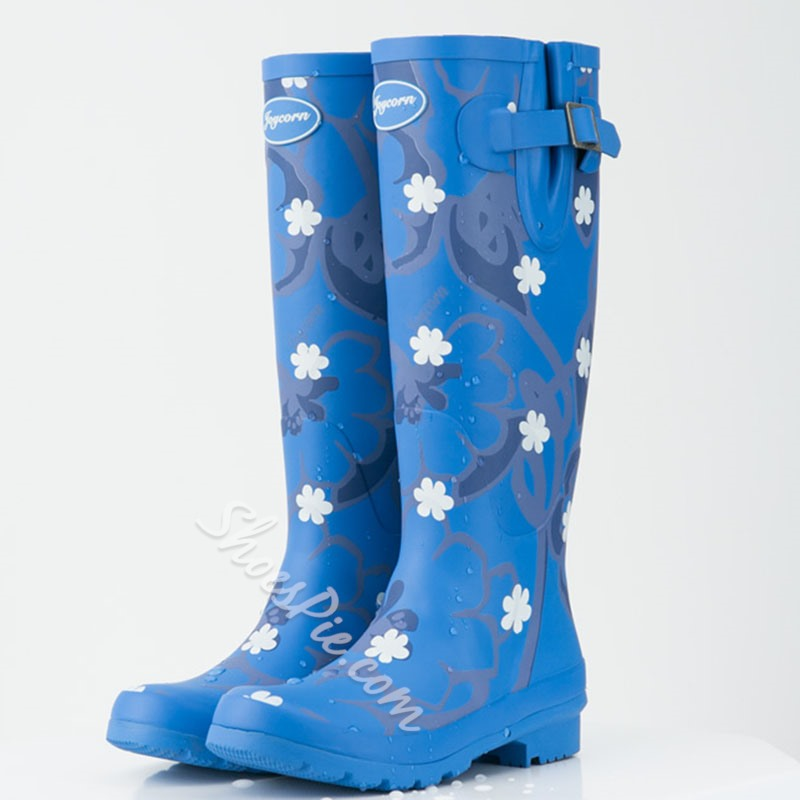 Shoespie Flower Print Knee High Rain Boots
