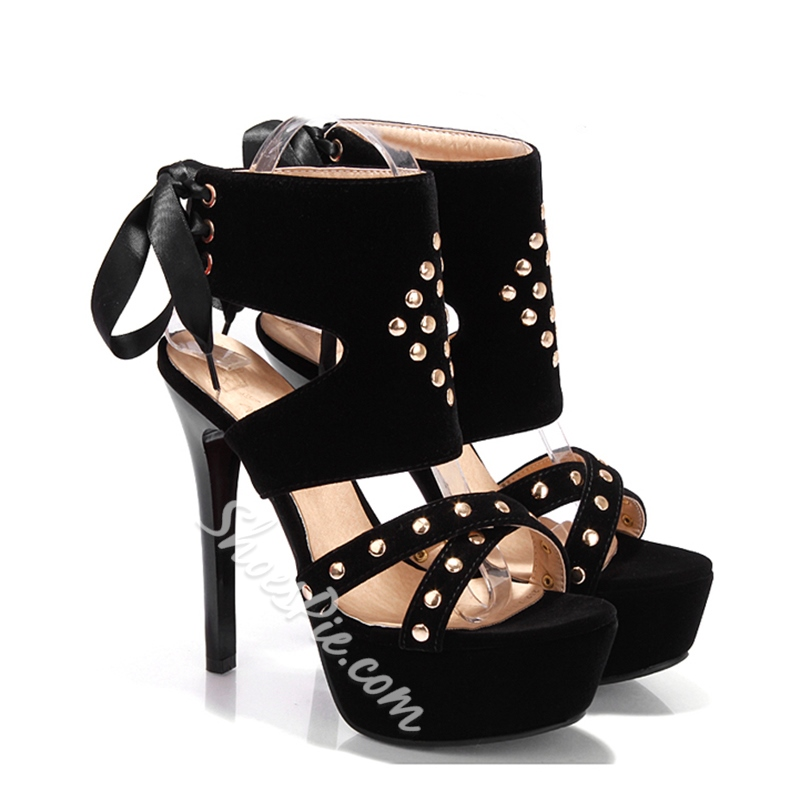 Shoespie Rivets and Ribbons Platform Sandals