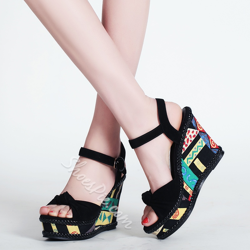 Shoespie Cute Paint Wedge Sandals
