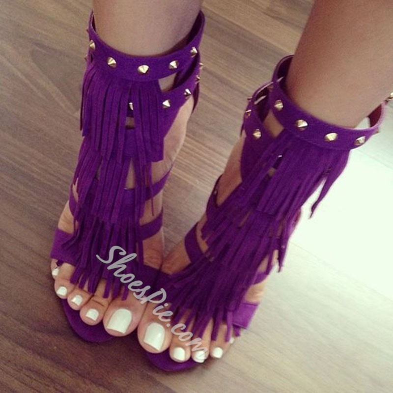 Shoespie Purple Rivets Tassels Dress Sandals