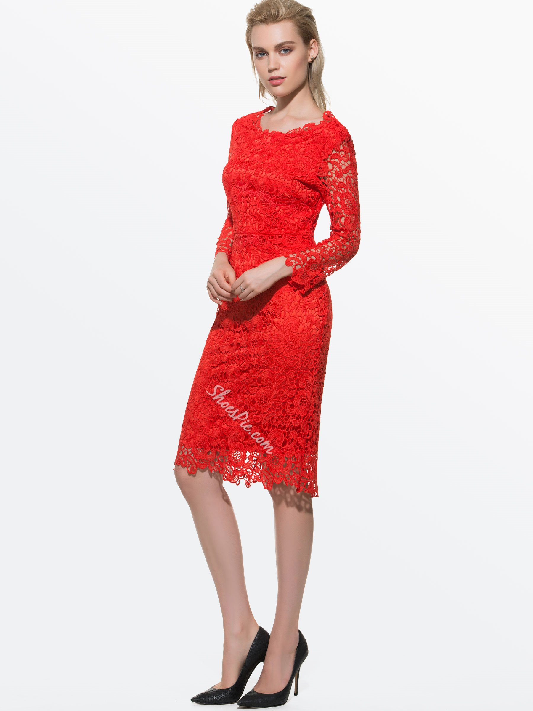 Red Backless Lace Bodycon Dresses