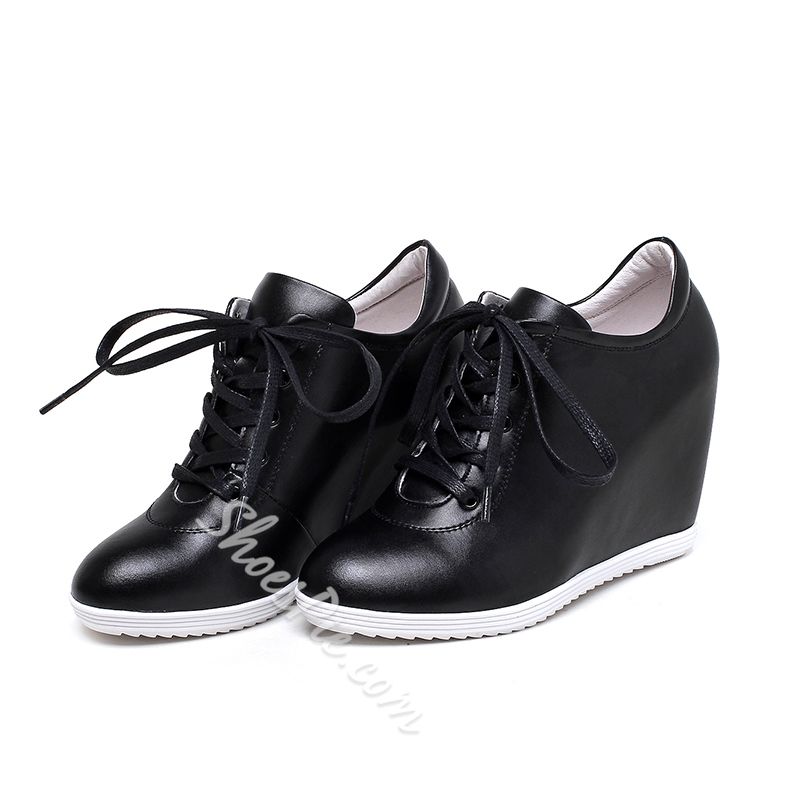 Shoespie Chic Plain Lace Up Hidden Wedge Sneakers
