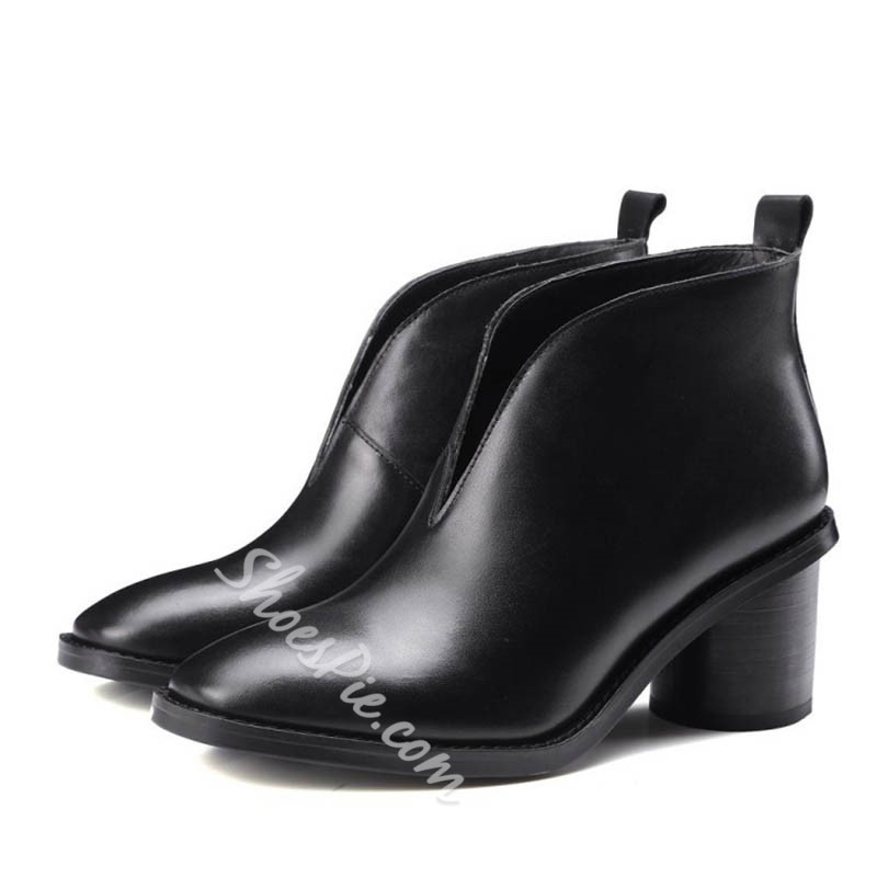 Shoespie Fall Round Toe Low Heel Ankle Boots