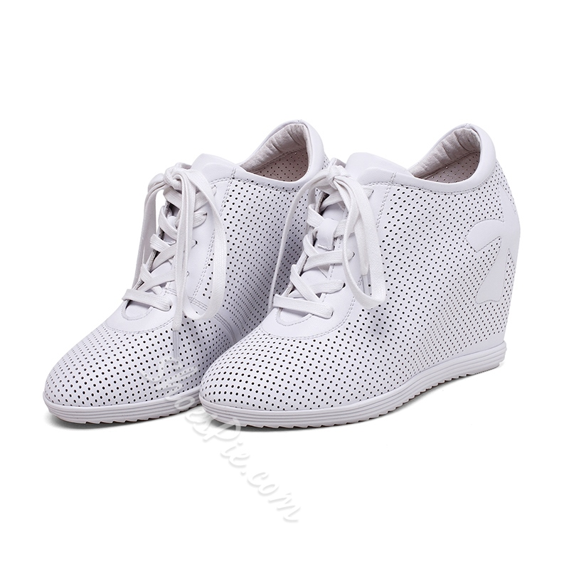 Shoespie Solid Color Mesh Hidden Wedge Sneakers