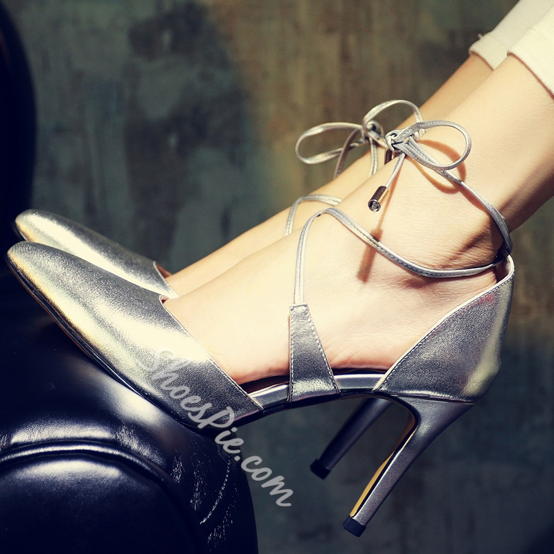 Shoespie Solid Color Lace Up Stiletto Heels