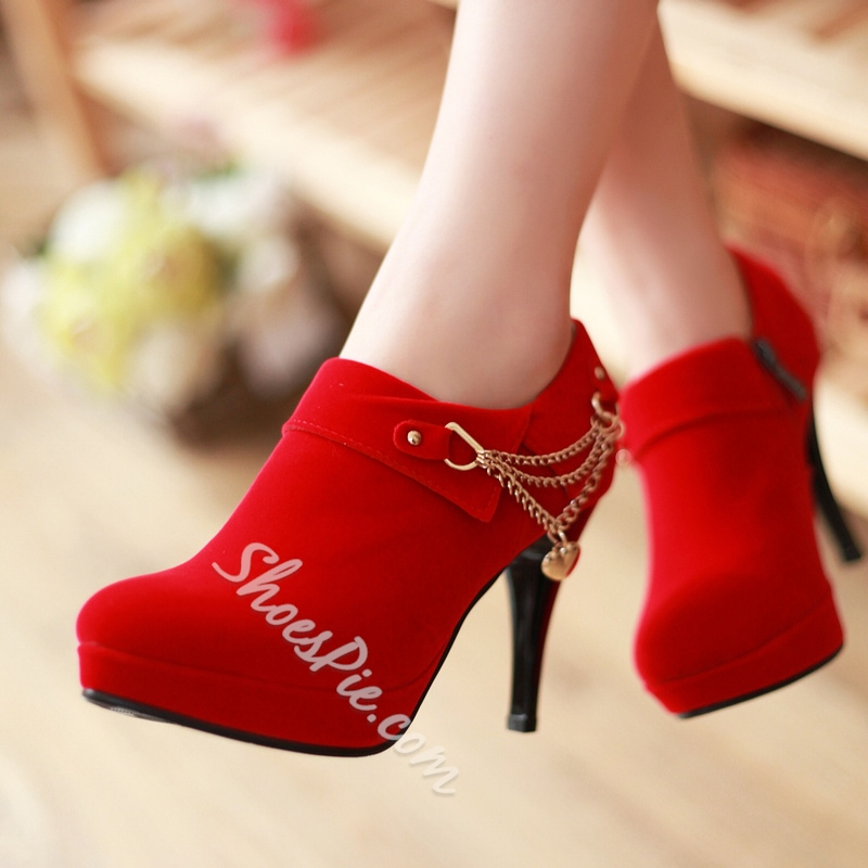 Shoespie Round Toe Stiletto Heel Ankle Boots