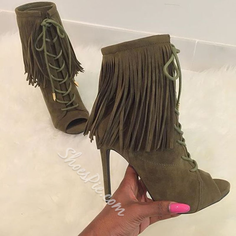 Shoespie Suede Tassels Lace Up Peep Toe Ankle Boots