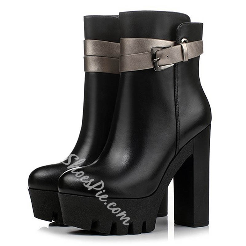 Shoespie Chic Black Lug Sole High Heel Ankle Boots