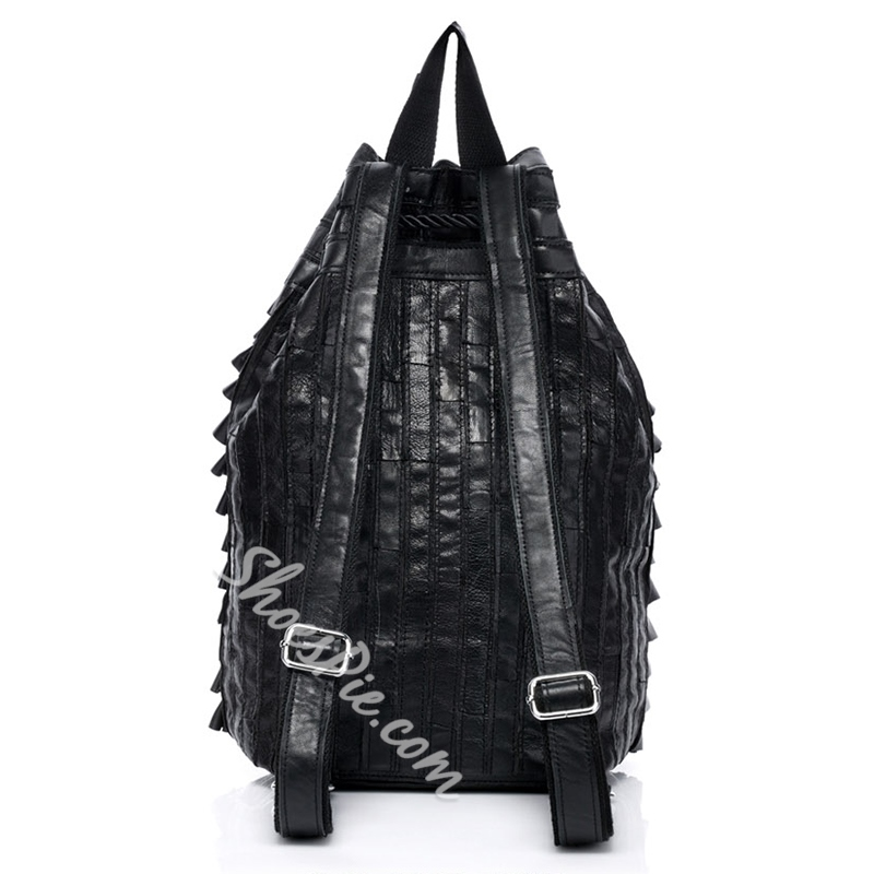 Shoespie Black Plaid Layered Backpack