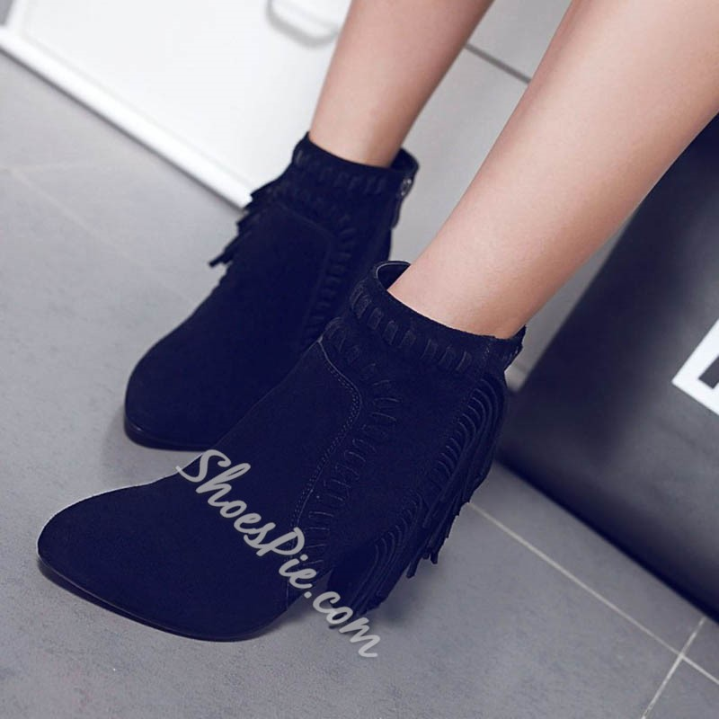 Shoespie Solid Color Tassels Chunky Heel Ankle Boots