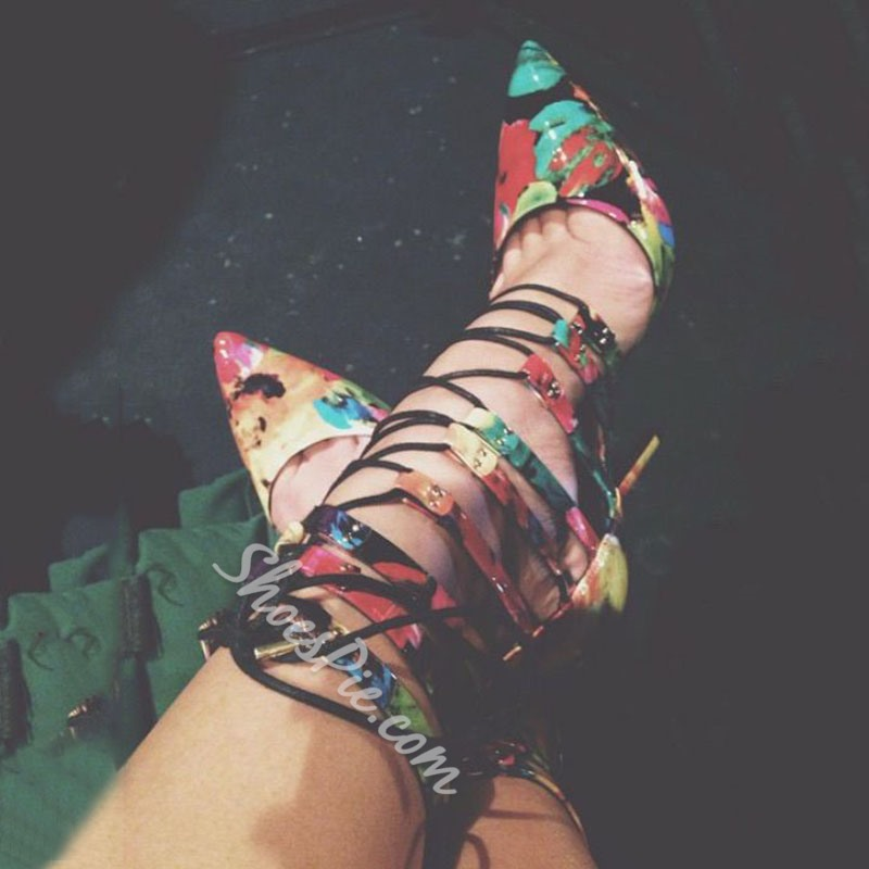 Shoespie Flower Print Lace Up Stiletto Heels