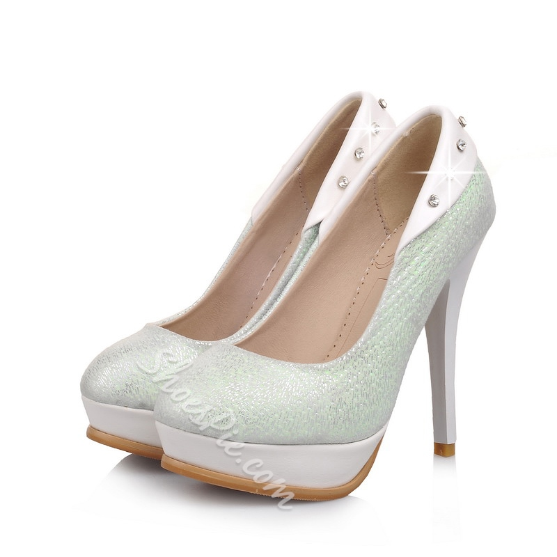 Shoespie Glittering Pointed Toe Platform Heels