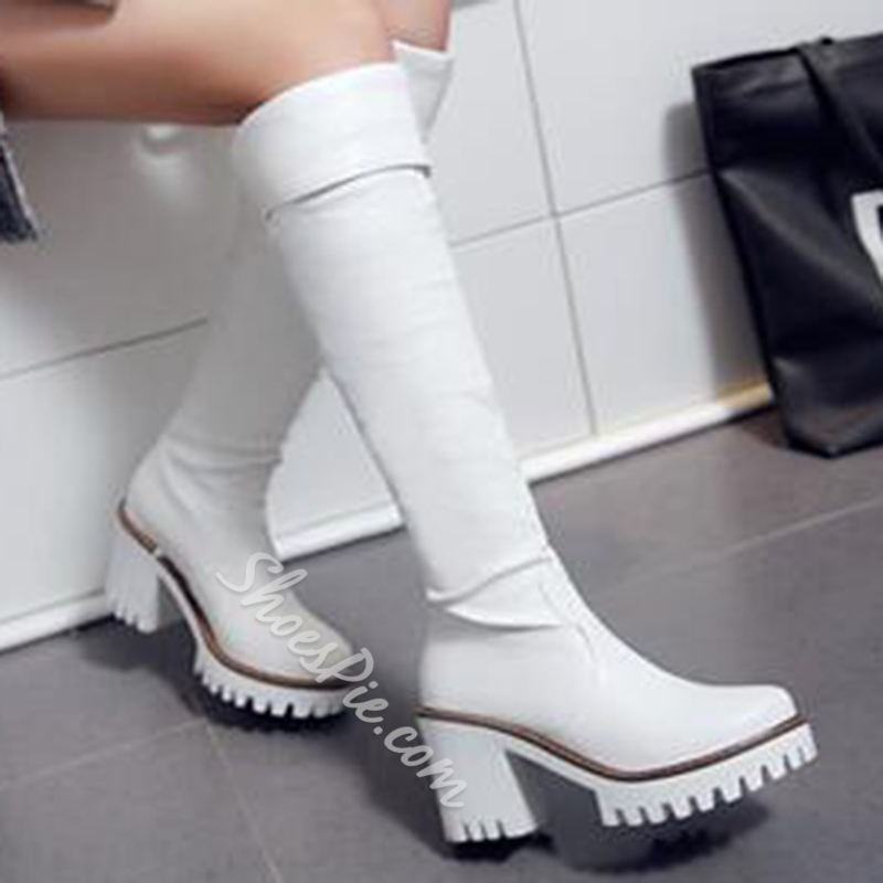 Shoespie Solid Color Lug Sole Knee High Boots